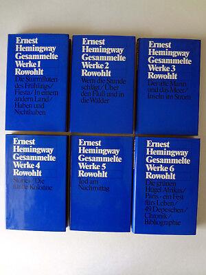 Hemingway,Gesammelte Werke 6 Bände/Schuber,Leinen,Erstausgabe,Rowohlt Verl.1977