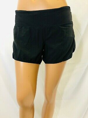 LULULEMON size 4 solid black runnings shorts