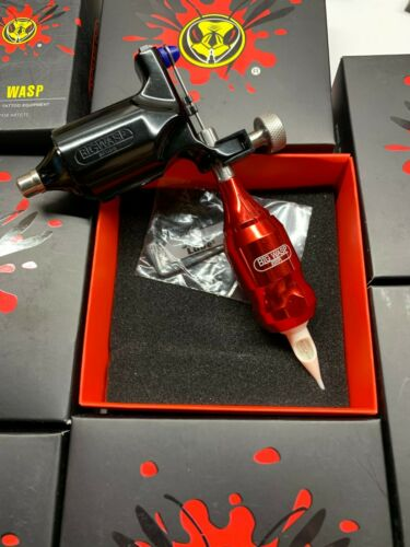 ORIGINAL BIG WASP Rotary Tattoo Machine and adjustable grip set BLACK and RED
