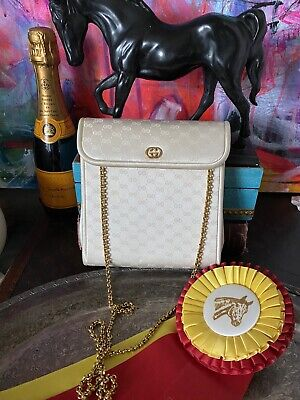 Ultra Rare GUCCI Vintage Ivory Satin Minaudiere Evening Bag Cocktail Purse Chain