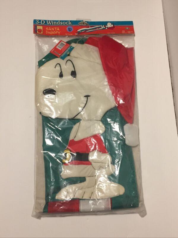 "NEW Peanuts Santa Snoopy Christmas 3D Windsock Flag 55"""