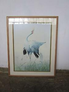 C44048 Lovely Framed Water Bird Crane Print TERENCE COOPER Mount Barker Mount Barker Area Preview