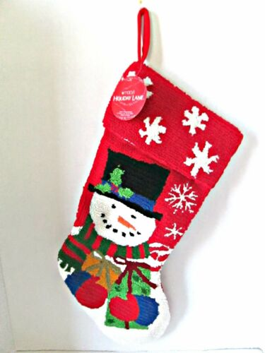 "Christmas stocking needlepoint 20"" red acrylic snowman gifts hooked new Macys"
