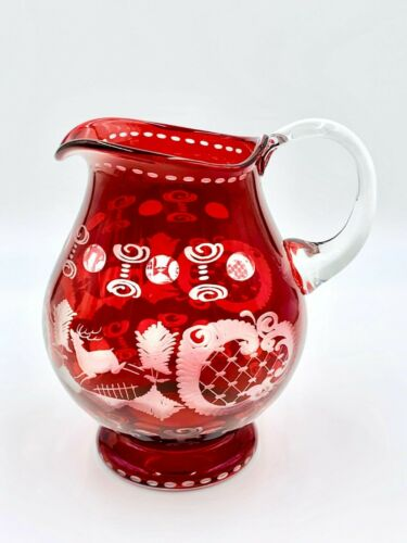 Vintage Czech Bohemian Egermann Ruby Red Crystal Etched Hand Blown Pitcher Deer