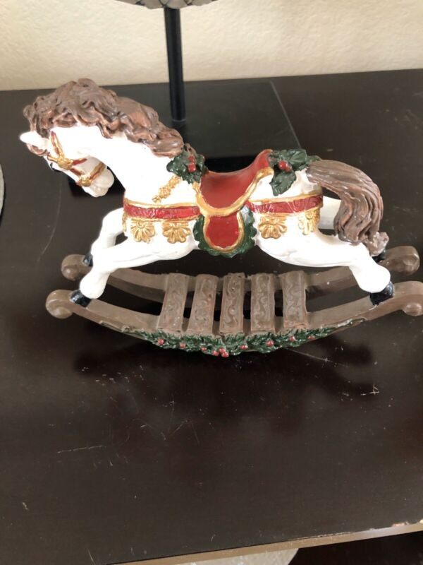 Resin Christmas Rocking Horse Figurine