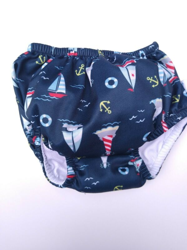 I Play Swim Diaper 18 months 20-25 lbs Sailboats Washable Swim Diaper 50 SPF
