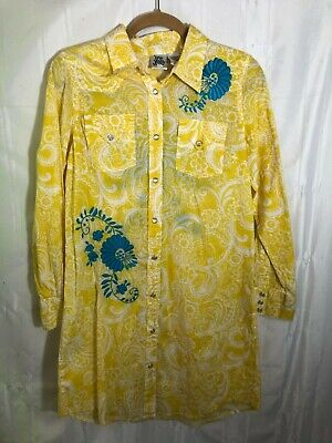 Ivy Jane Yellow Women's Size S Long Sleeve Button Up Collared Dress