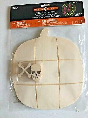 Halloween Pumpkin Decoration Games (DARICE Halloween Decor - DIY Wood Pumpkin TIC TAC TOE Board Game 11 PC)