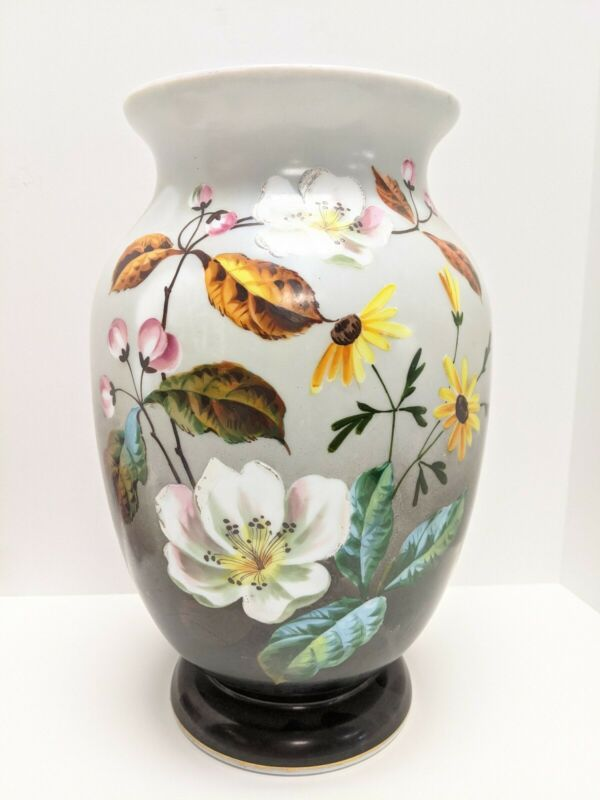 "VICTORIAN HAND PAINTED MILK GLASS VASE LARGE PAINTED FLOWERS 12"" Tall"
