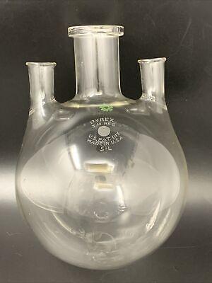 Vintage 5-l Pyrex Usa Laboratory Glass 5000ml 3-neck Round Bottom Flask 21-780
