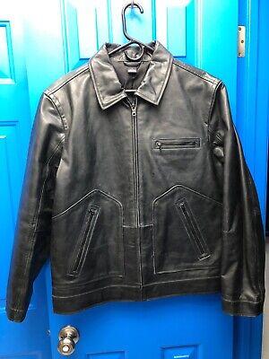 Mens Claiborne hard leather jacket black (gunmetal grey) MEDIUM