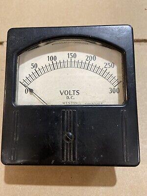 Large Vintage Weston Dc Volts Meter Measures 0-300 Vdc Model 741 Panel Gauge
