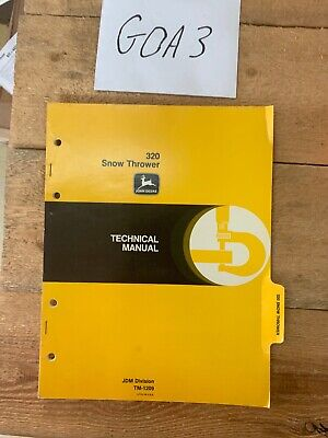 John Deere 320 Snow Thrower Tm1209 Technical Manual Book