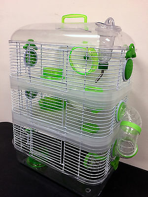 NEW 3 Solid Level Dwarf Hamster Rodent Gerbil Mice Critter Trail Habitat Cage319