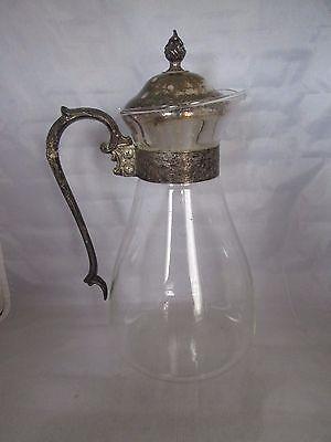 Vintage Glass Decanter Carafe Coffee Tea W/ Silverplate Lid & Handle