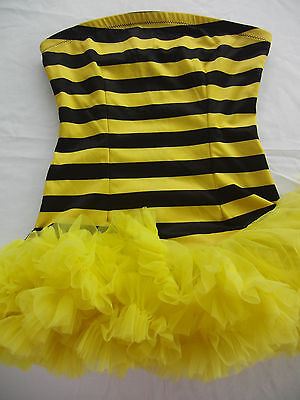 Bumble Bee Strapless Stripe Costume Yellow Black Tutu Skirt  Adult Teen S / M