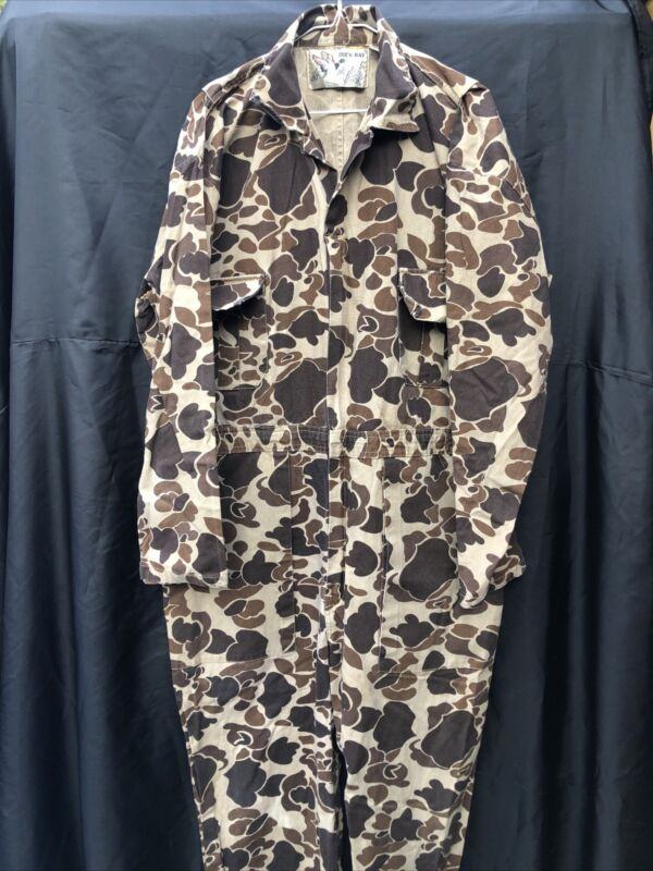 Vintage Duck Bay Camo Overalls Hunting Outdoor Men's Size Large