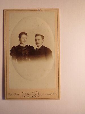Neu-Ulm - Paar - junge Frau & Mann mit Bart im Anzug - Portrait / CDV