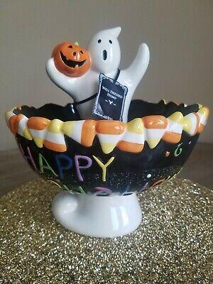 Halloween Ceramic Spooky Ghost w Jack Pumpkin Floating Candy Dish Treat Bowl