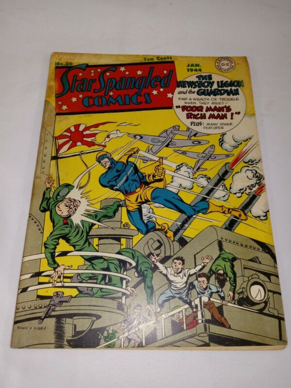 1944 Star Spangled Comics # 28  NEWSBOY LEGION & GUARDIAN WORLD WAR II COVER 4.5