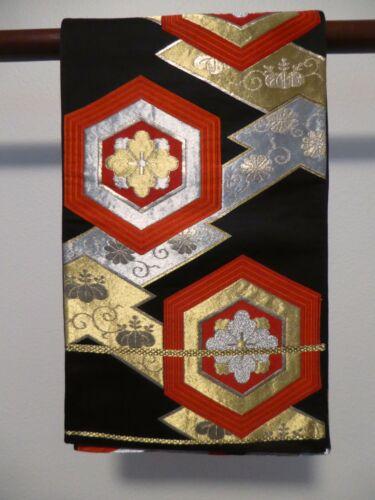 #75 Vintage Japanese Silk Fukuro Obi, Turtle Shell