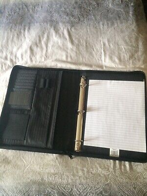 1 Zip Up Binderporfolio Side Pocket Pen Card Pad Holder With Carry Handle
