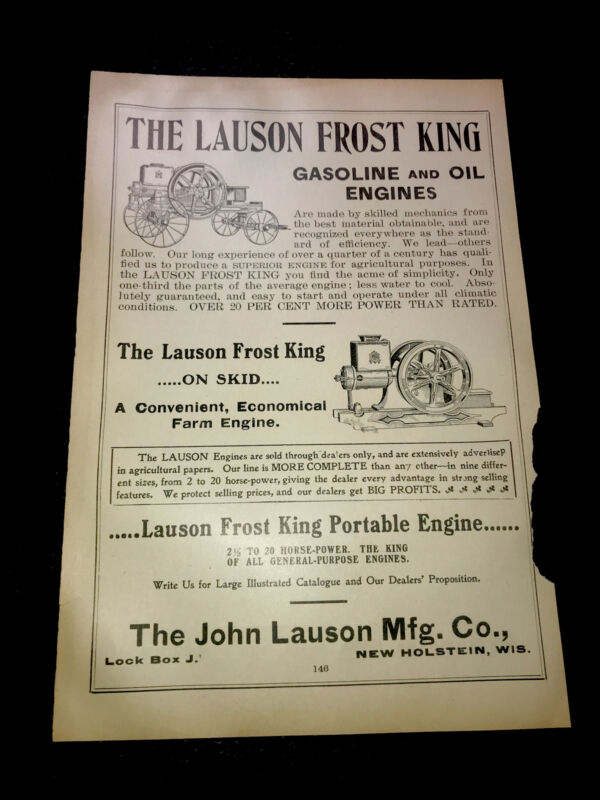 1908 Lauson Frost King Gasoline & Oil Engines Farm Advertising - New Holstein WI
