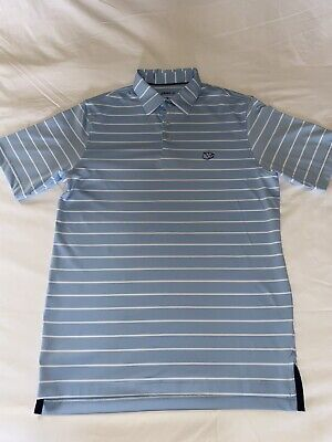 Johnnie-O Mens Leisure Top, Sky Blue And White Striped, Size Smal