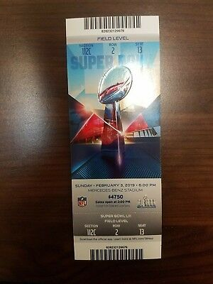 TICKET SUPER BOWL LIII 53 New England Patriots vs Los Angeles Rams 2/3/2019