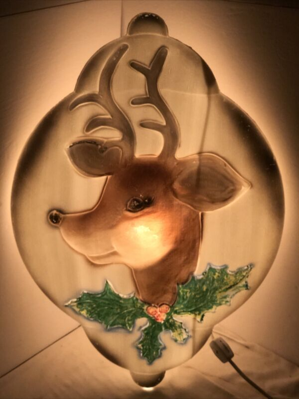 Vintage 1972 Union Products Lighted Rudolph Reindeer Ornament Blow Mold- RARE!