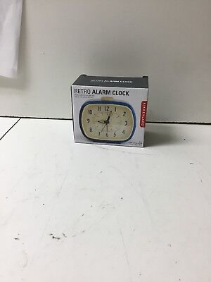 Retro Alarm Clock Blue Kikkerland Battery Operated Glow In The Dark
