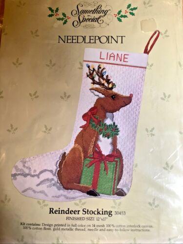 "Something Special Needlepoint Reindeer Stocking Kit 30453 12"" x 17"" Vintage NEW"