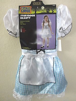girls NEW NWT STORYBOOK BEAUTY  HALLOWEEN COSTUME DRESS blue medium CHECK APRON  ()