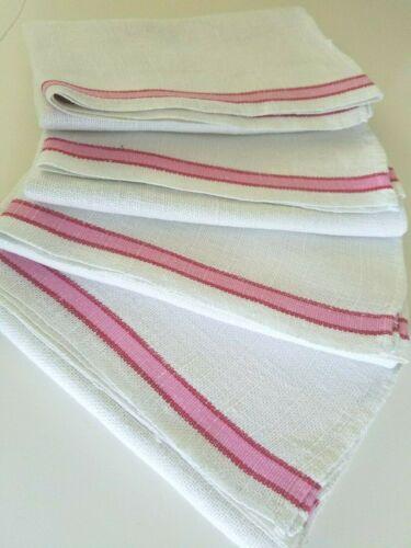 (4) Vintage Linen PINK Stripe KITCHEN Dish TOWELS Pastry Cloth Farmhouse Chic