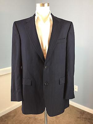 Daniel Cremieux Navy Blue Pinstripe Suit 100% Wool 42 L Excellent two button 36