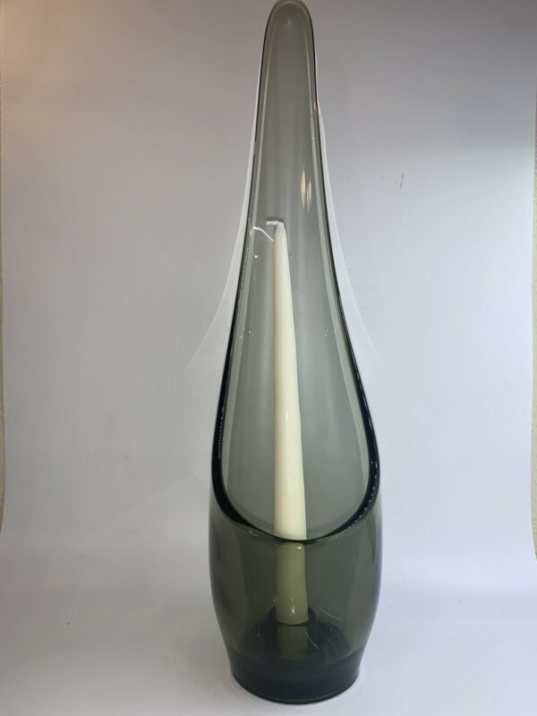 """Vintage MCM Hand Blown Swung Stretch Glass Vase Candle Holder 16"""" Smoky Green"""