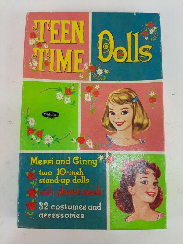 Vintage 1960 Whitman Teen Time Paper Dolls Merri & Ginny New UNCUT