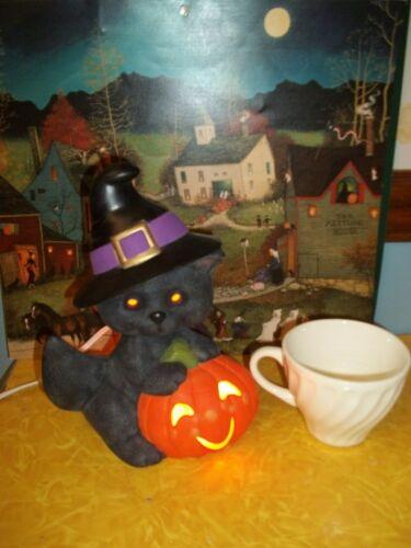 Vtg INSPIRED Ceramic JACK-O-LANTERN Black Witch CAT Halloween Lighted Lamp Light