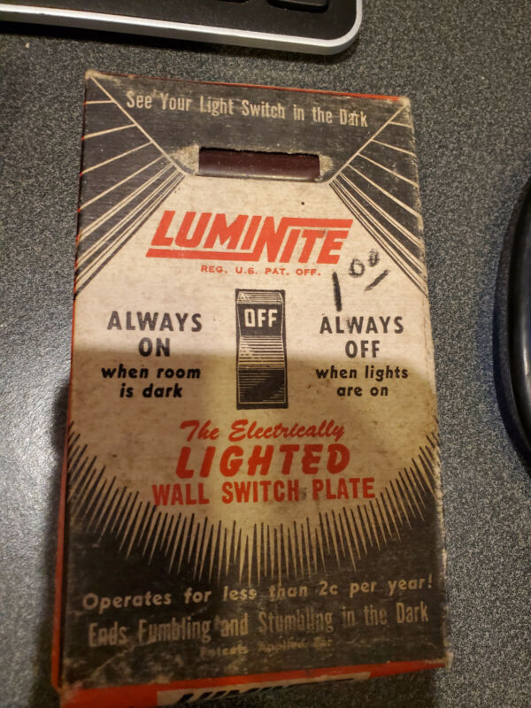 Vintage Luminite Electrically Lighted Toggle Switch Plate (Brown) - NEW
