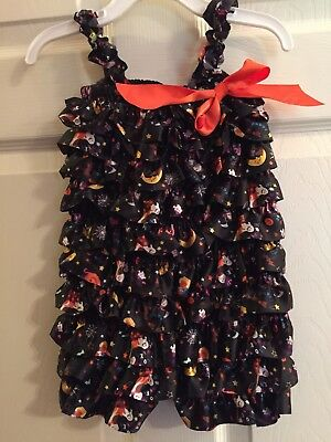 NWOT~ ROYAL GEM Black Halloween print RUFFLE SHORTS ROMPER SIZE L (2T - 4T)
