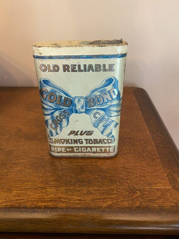 Antique Vintage Gold Bond Old Reliable Pocket Tobacco Tin Empty