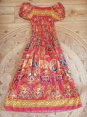 Vintage 90 block print indian Boho Hippie Summer Midi smock Dress Size S M 12/14
