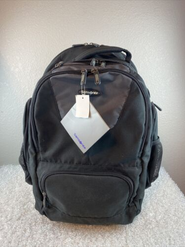 Samsonite Rolling Wheeled Rolling Backpack Travel 15.6 Laptop Bag Black Carry On - $67.49
