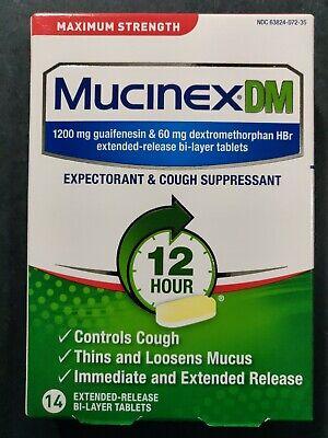 Mucinex DM Expectorant & Cough Suppressant 12 Hour Controls Cough 14 Tablets Mucinex Dm Expectorant