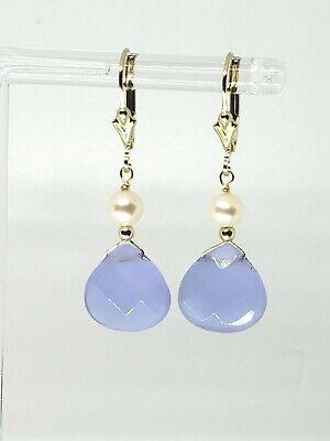 14k Yellow Gold Filled Purple Chalcedony Briolette White Pearl Dangle Earrings