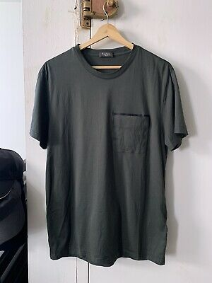 NEW Berluti Tshirt Haider Ackermann Olive Green Leather Patch Pocket Large L