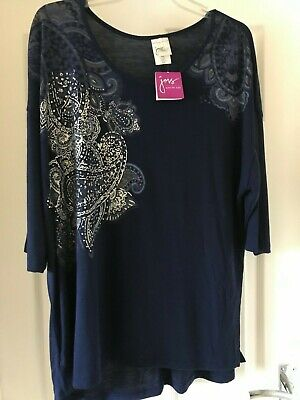 Just My Size t-shirt top plus size 16 18 20/22 26/28 blue silver pattern hi-lo