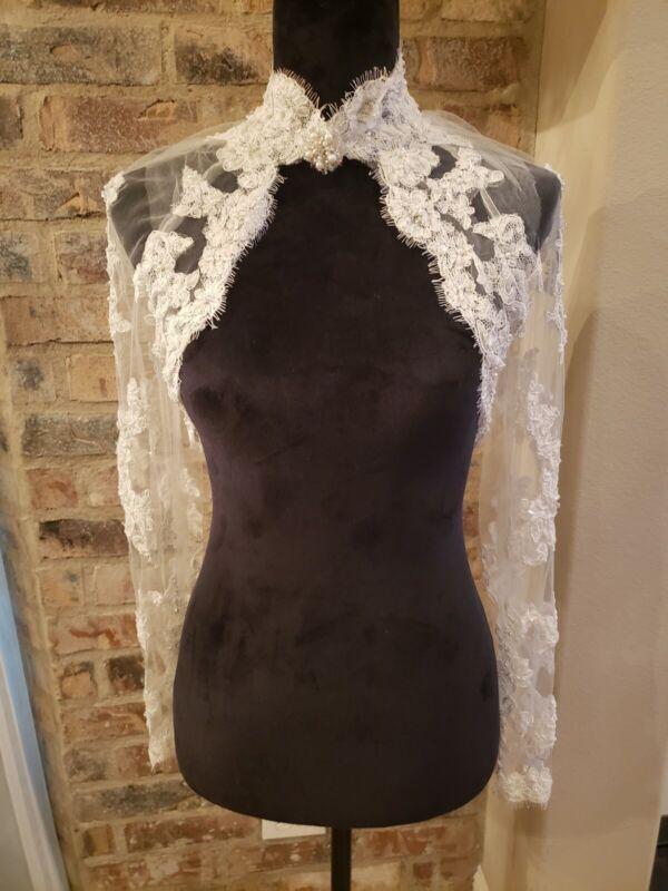 Bridal Bolero/Shrug,Lace and Pearl Wedding Jacket with long sleeves, Size: Small