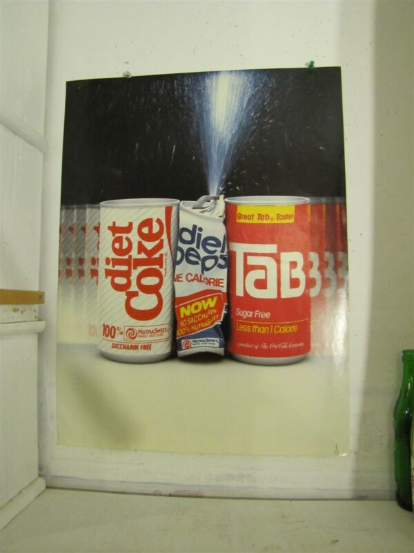 "Diet Coke & Tab Crush Diet Pepsi Paper Window Sign 18"" x 24"" Used"