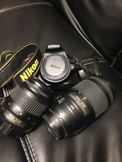 Nikon d3200 dslr camera (w/ 55-300 & 18-55, wifi, sd )